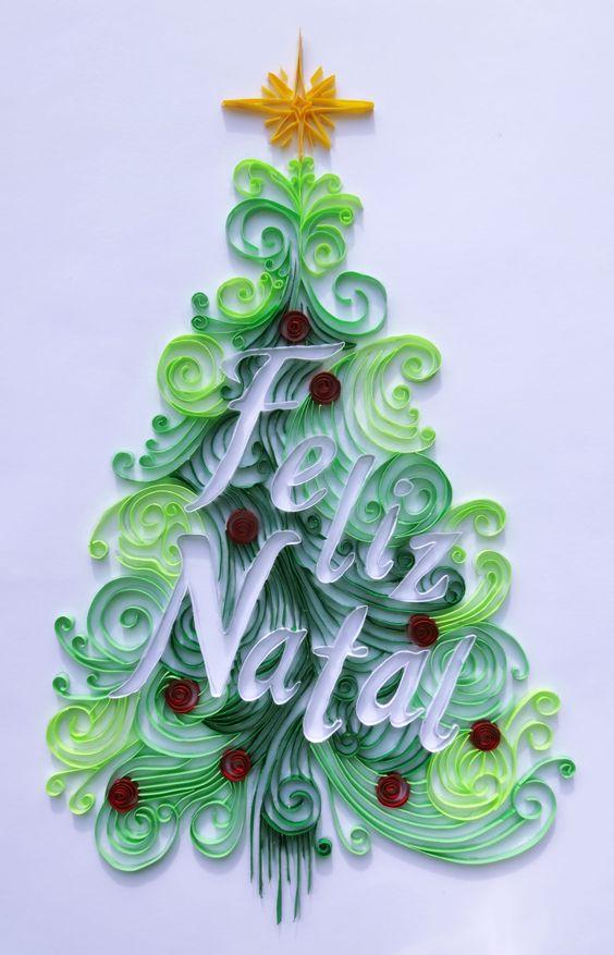 Cartão de Natal em paper quilling por Ciliane Pereira