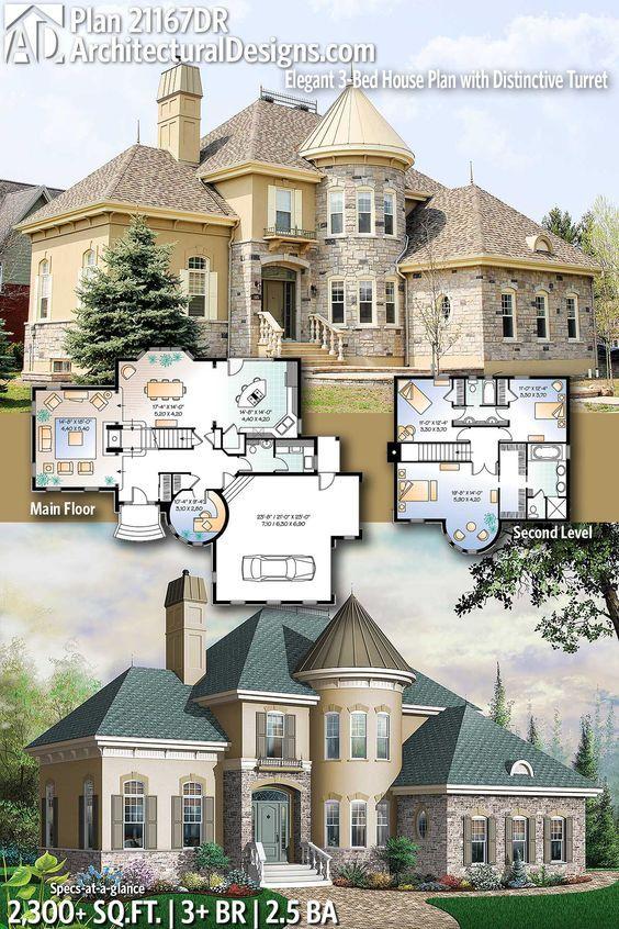 Plan 21167dr Elegant 3 Bed House Plan With Distinctive Turret Beach House Plans Architectural Design House Plans House Plans