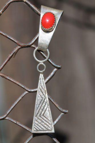 Vintage Signed Navajo Sterling Silver Red Coral Pendant Enhancer W. Johnson