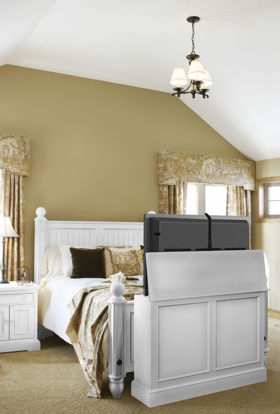 End of bed TV cabinet, TV raised: love this for new room layout ...