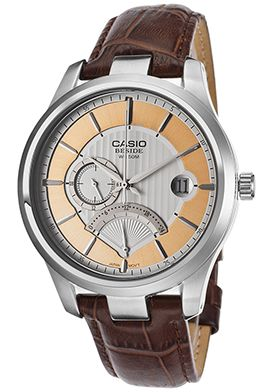 Casio BEM308L-7AVDF Watches,Men's Beside Brown Genuine Leather Strap Silver-Tone Textured Dial, Casual Casio Quartz Watches