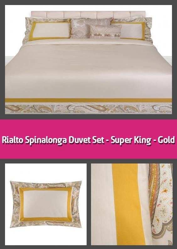 Rialto Spinalonga Duvet Set Super King Gold Duvet Set Material 100 Cotton Set Includes Duvet Cover 260x220cm 2 X Oxford Pillowcases 50x75cm Soft 24