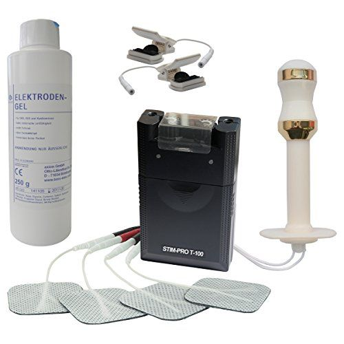 Estim Reizstrom Set. TENS Gerät T100, Vaginalsonde vergoldete Elektroden, Estim-Klemmen, Kontaktgel