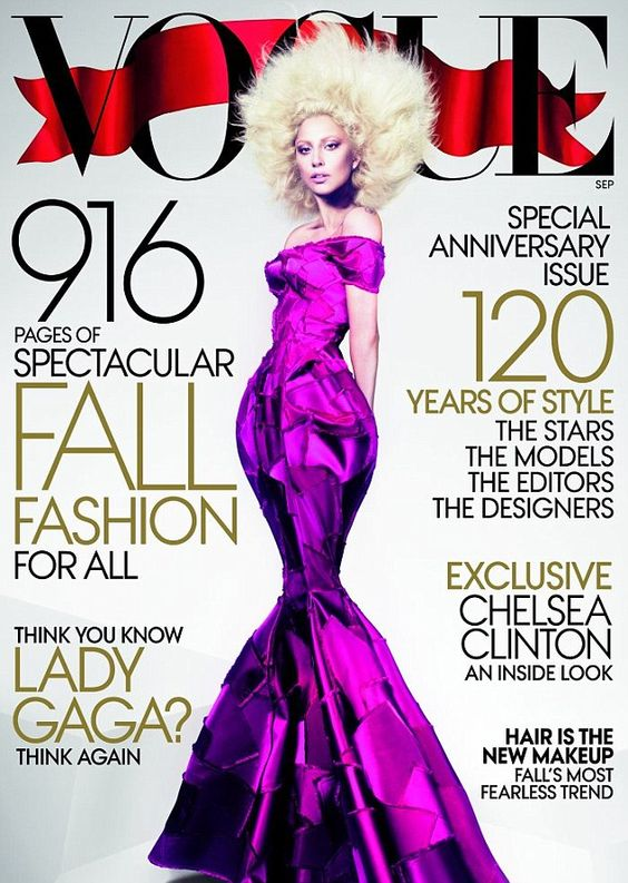 Lady Gaga shows off her figure, and a new afro, as she graces the September 2012 cover of US Vogue magazine