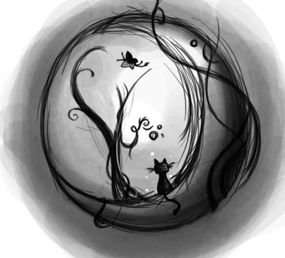 I think something like this, except maybe instead of a butterfly, a bat. And maybe add a Jack-O-Lantern by the cat? I need a Halloween tattoo.