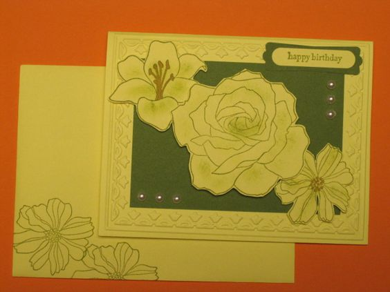 Copied design from personal folder of ideas taken off line, but modified using charcoals for subtle green coloring and stamped envelop to coordinate with card.