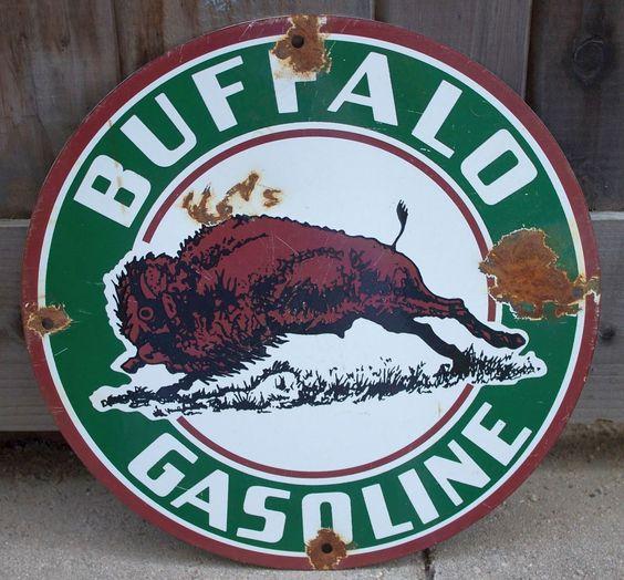 Buffalo Gasoline Vintage Porcelain Sign (Old Antique Gas