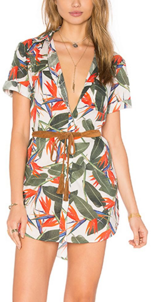 Birds of Paradise Belted Romper