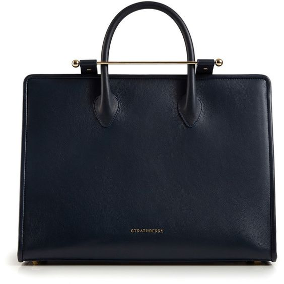 The Strathberry Tote Navy (£475) ❤ liked on Polyvore featuring bags, handbags, tote bags, tote hand bags, navy tote, navy blue purse, tote handbags and navy blue tote bag