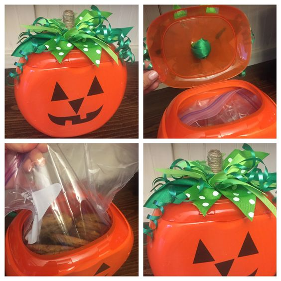 Recycle an old tide pod container into a pumpkin cookie jar! Place cookies in plastic bag inside. Stick on jack o lantern face. And cut strips of different green ribbon then stick in a twine covered stem through a hole cut in the top and attach with hot glue!