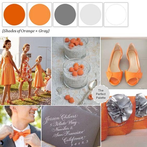 Wedding Colors | Orange + Gray http://www.theperfectpalette.com/2013/10/a-modern-fall-wedding-orange-gray.html