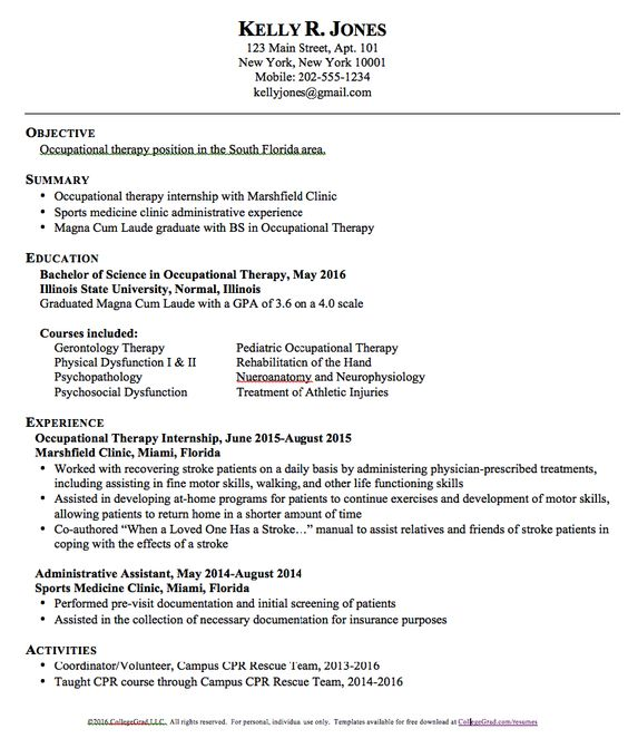 Premium \ Free Occupational Therapy Resume Template Download - copy and paste resume templates