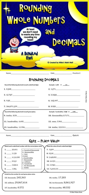Rounding decimals worksheet grade 7