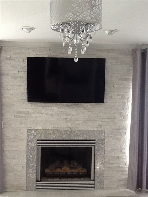 Modern contemporary white quartz ledger stone fireplace anatolia glacier starfire glass - Large contemporary stone fireplace ...