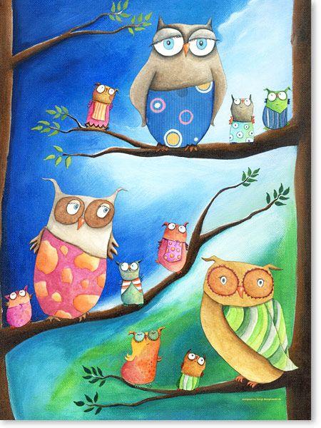 Bilder Kinderzimmer auf Leinwand gedruckt für Jungen und Mädchen | Motiv: #Eulen, #Einschulung in der Eulenschule - Malstil: Acrylbilder für Kinder im Alter von 0 - 14 Jahren.