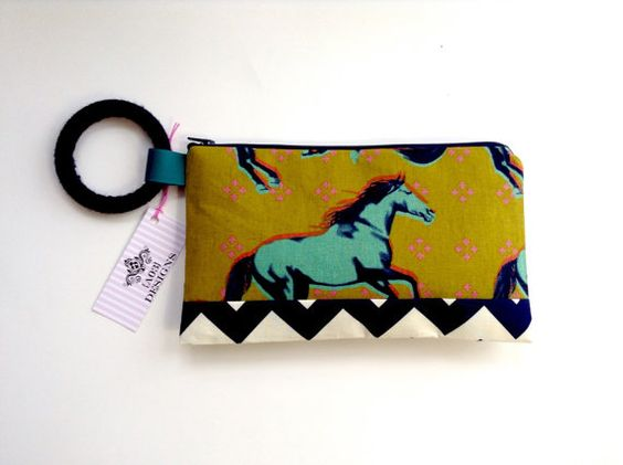Clutch in horse and chevron print // simple modern zipper pouch // Gift by ao3designs $20