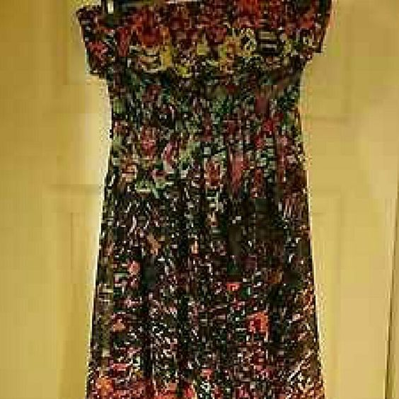 Sundress hi low ruffled medium colorful! Pretty sundress off shoulder hi/low style dress that goes metro or country! Size medium by Self Esteem, not worn. Too small on her Self Esteem Dresses High Low