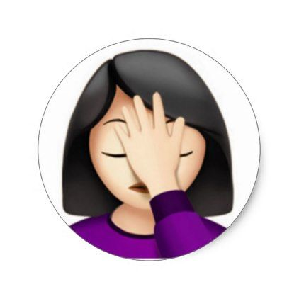 #Apple iPhone Facepalm Emoji Sticker (Round) - #emoji #emojis #smiley #smilies