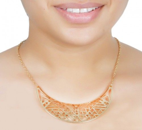 Aaishwarya Golden Era Bib Necklace This semi Arc metal  necklace with  hollow geometric patterns  This is stunning statement necklace  and is a great way to draw attention Perfect gift for any occasion for yourself and your dear ones Ideal for Casual wear, work wear, party wear  Colour : Gold Gender : Women Length : 20 cm Weight : 50 grms Type : Choker Material : Crystal Wash Care: It is advisable to store jewellery in a zip lock pouch (air tight pouch), keep away from water perfume and…
