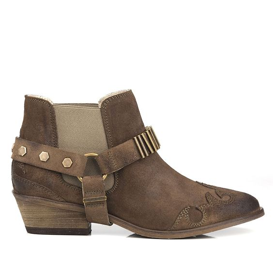 Brown suede, slip on chelsea boot with removable western strap detail by Seven Boot Lane