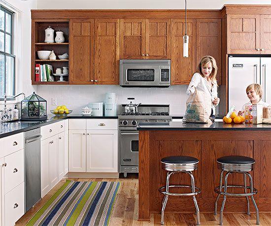 Mixed Kitchen Cabinets - Kitchen Design Ideas