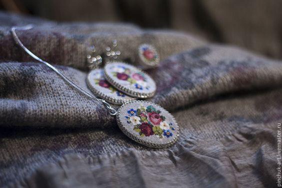 """Купить """"Жизель"""" Серебренный комплект. Кулон, серьги и кольцо - вышивка, украшения с вышивкой"""