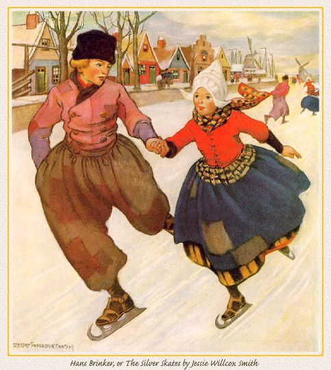 Vintage Christmas Card with Dutch Skaters The cover of Hans Brinker and the Silver Skates...my father's book as a child.: