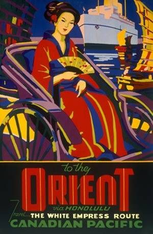 Vintage Canadian Pacific Orient Line Travel Poster with #geisha