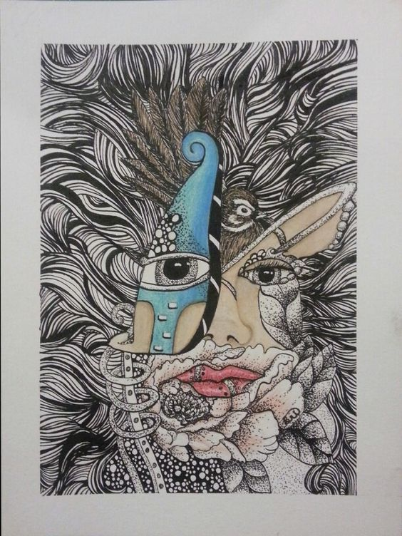 Untitled - India Ink, Prismacolor on watercolor paper - Briana Rose Lucero