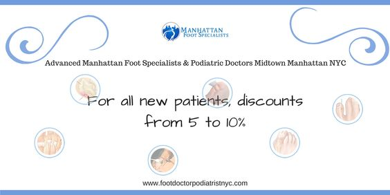 Manhattan Foot Specialists is a multi-specialty practice with award-winning physicians cited in prominent media outlets. Best rated NYC Foot doctor Dr. Sophia Solomon provides a full range of podiatry procedures including cutting-edge laser foot surgery, minimally invasive surgery, laser treatment for warts using latest techniques and technologies available in the U.S. For a limited time, an event for all new patients, offers a 5-10% discount on any procedure.