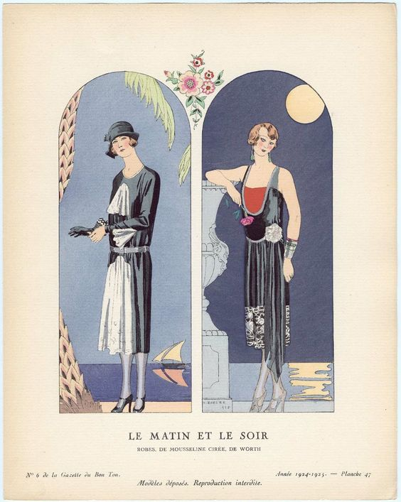 """Le Matin et Le Soir - Robes, de mousseline cirée, de Worth,"" plate 47 from Gazette du Bon Ton, No. 6  French, 1924–25"