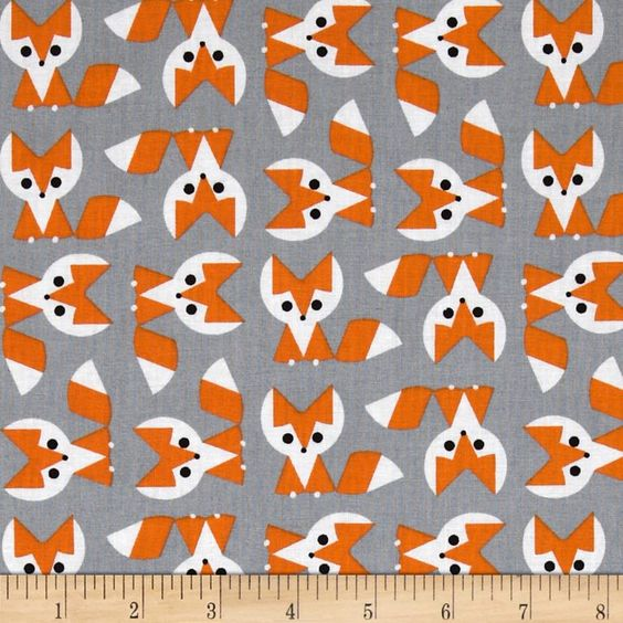 Cloud 9 picture pie organic fox orange grey pictures for Fox print fabric