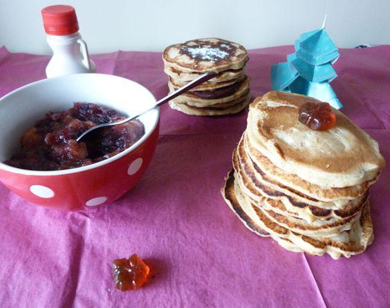 Pancakes à la compotée de canneberges (ou au chocolat)