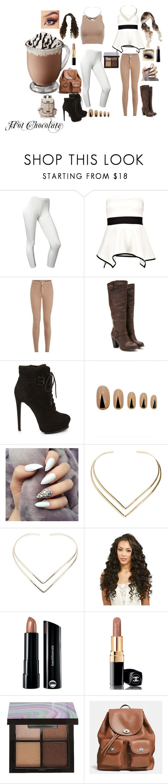 """Hot chocolate inspired outfits"" by princesscupid98 ❤ liked on Polyvore featuring Boohoo, Forever 21, Static Nails, Natalie B, Bare Escentuals, Chanel, tarte, Coach and Wild Pair"