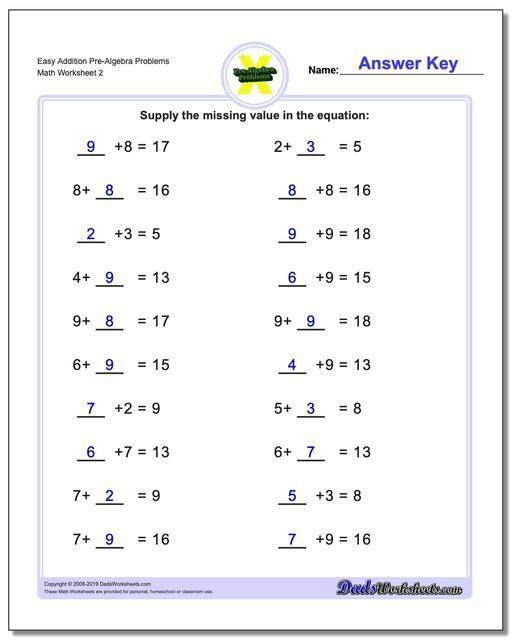 Https Www Dadsworksheets Com Easy Addition Worksheet Pre Algebra Problems Worksheet Www Dadsworksheet Algebra Worksheets Pre Algebra Worksheets Pre Algebra Free algebra worksheets with answer key