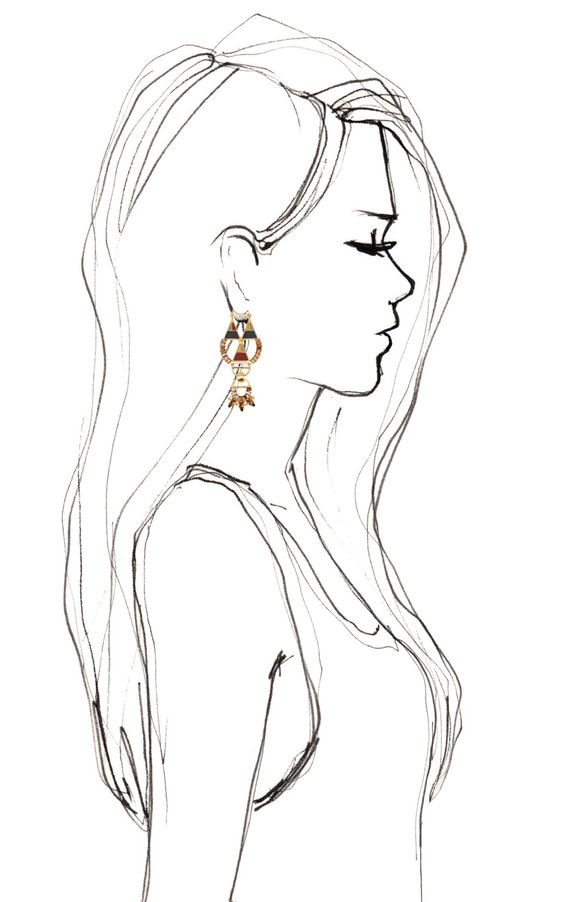 Bochic Hemingway Earrings, great silhouette. I always need a silhouette when I'm drawing profile portraits: