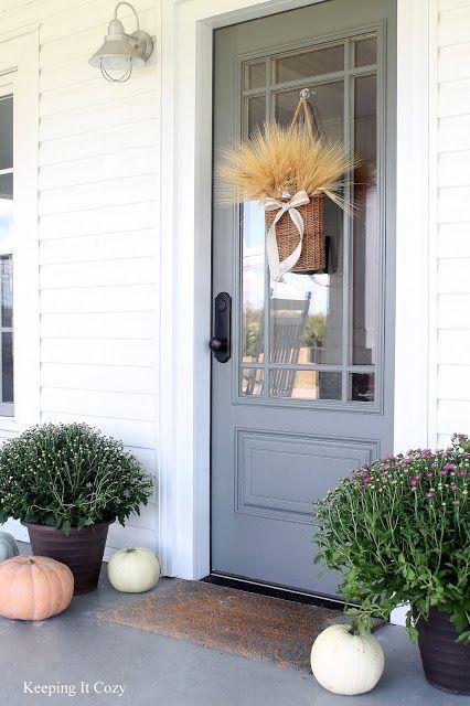 Door paint color is Amherst Gray from Benjamin Moore.