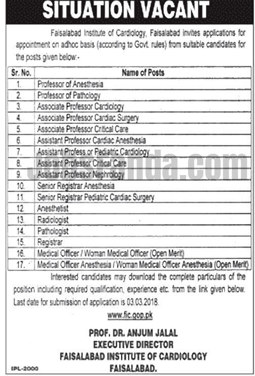 Faisalabad Institute Of Cardiology Jobs  For Professors And