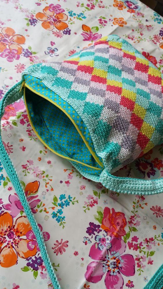 Tapestry Crochet Tutorial For Beginners : Tapestry tas gemaakt door Made by Leen #haakpatroon # ...