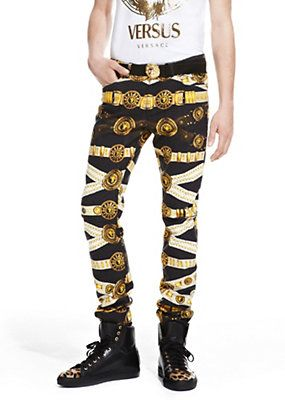 Versus Versace Men MENS ICONIC BELT PRINT JEANS