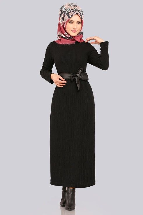 Elbise Deri Detay Triko Elbise Akt3100 Siyah Colorful Dresses Dresses Head Scarf
