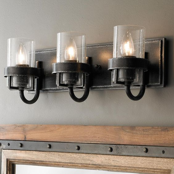 Industrial Bathroom Wall Sconces : Clear Cloche Glass Bath Light- 3 Light Powder, Vintage and The o jays