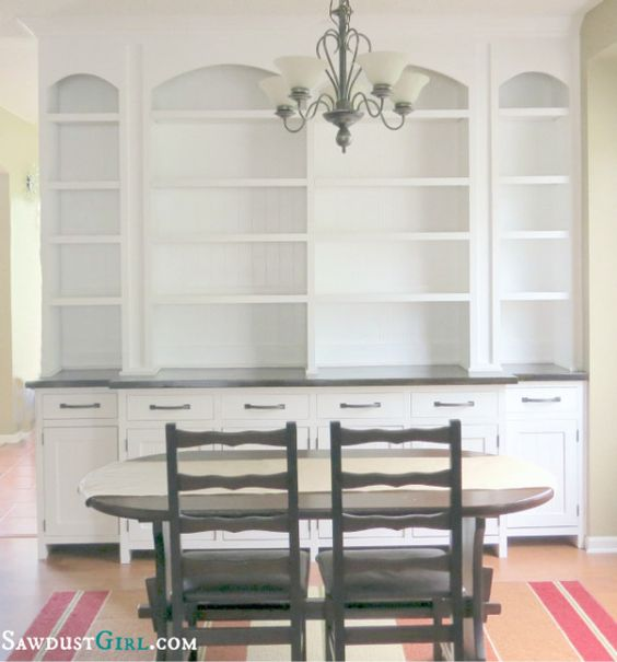 Built In Buffet Dining Room: Dining Room Built-in Buffet - SawdustGirl.com