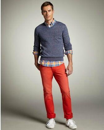Sexy orange Vince pants.  Summer Citrus. mens-style-jason-gary-would-rock-that