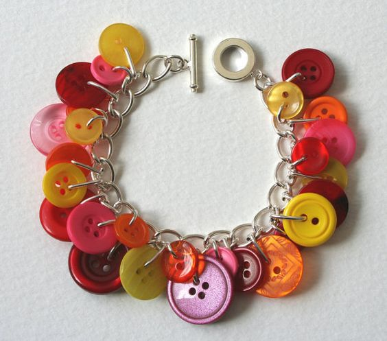 Button Bracelet Red Pink Yellow Orange Brights Mix by MrsGibson.