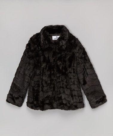 KC Collections Black Faux Fur Coat - Girls | Coats Faux fur coats
