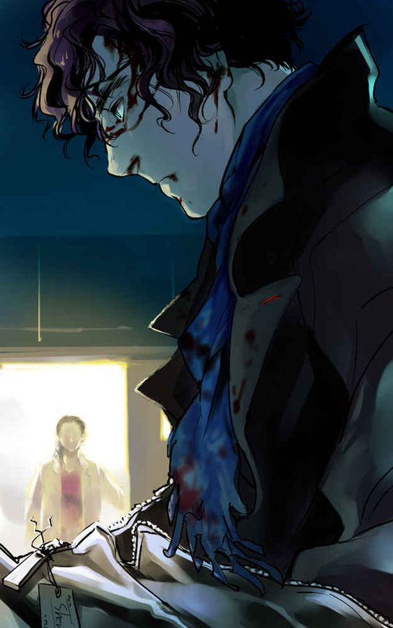 (Open RP) I walk in the lab and flick the light switch on. Molly had told me to go close up but instead i see a man in a coat bleeding. By oirbmeamu on deviantart. (Need Sherlock)