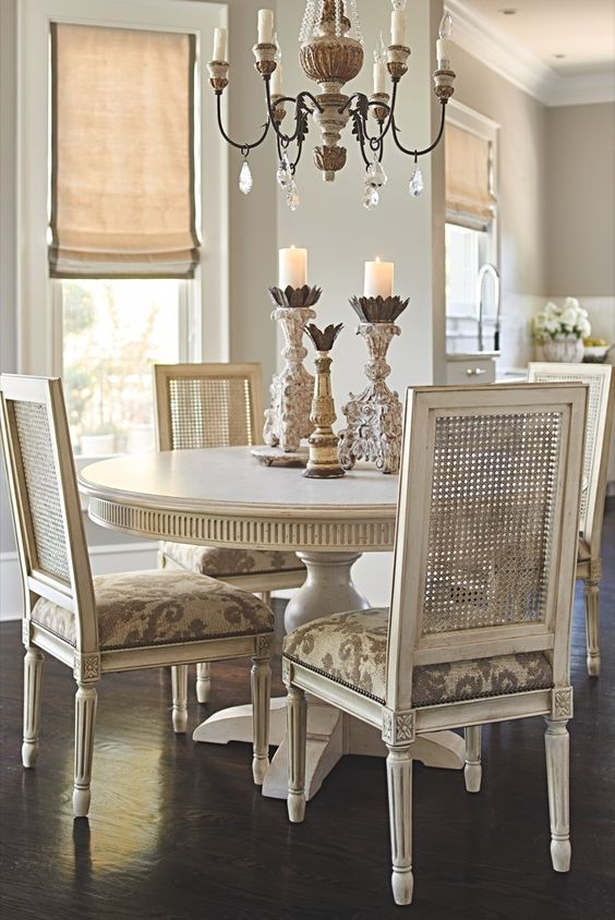 Some dining rooms cry out for centerpiece furnishings like the round Frederick Pedestal Dining Table.
