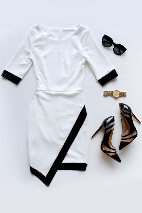Wrap-phrodisiac Black and Ivory Dress