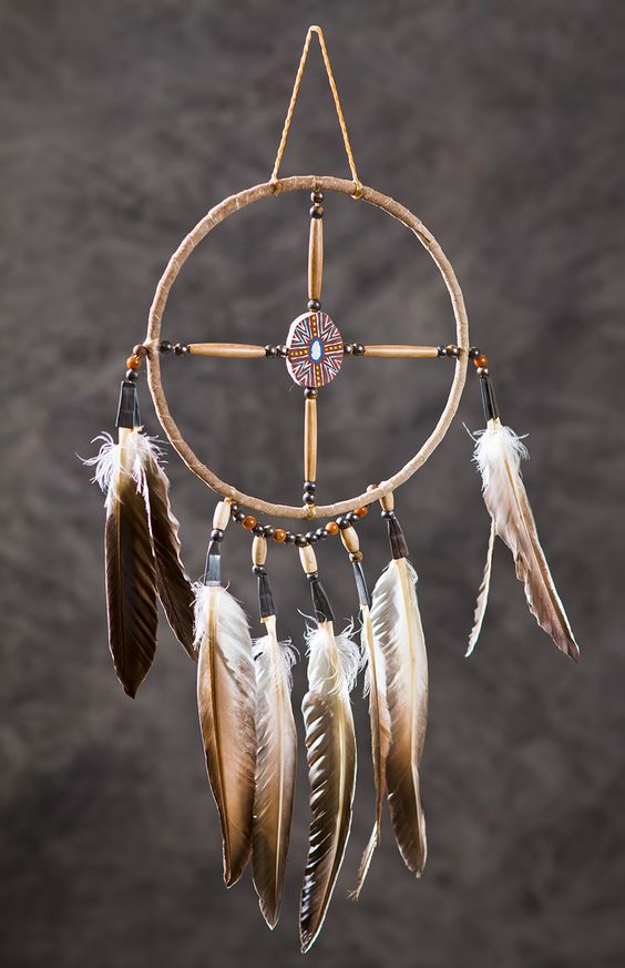 Medicine Wheel. It represents the circle of life.  The center cross bar symbolizes the four winds, four seasons, four directions and four teachers.  It is considered to be good luck by the Native Americans.  Many Natives display it in their homes for protection.